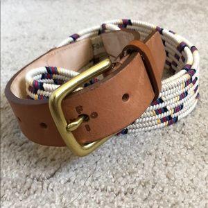 MR PORTER Folk Buckley Leather-Trimmed Woven Belt